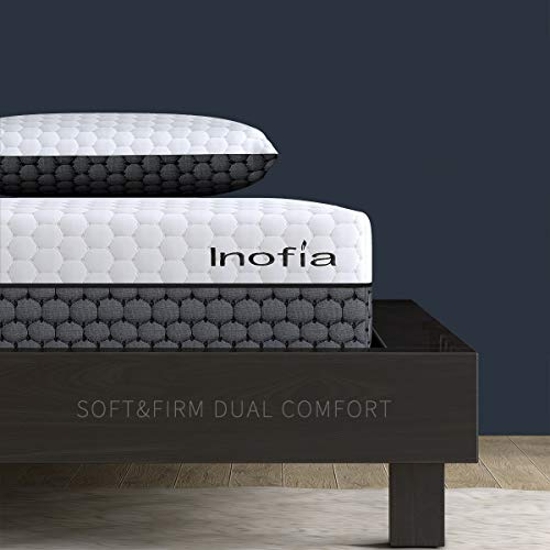 Inofia Sleep Double Memory Foam Mattress,2 in 1-Soft and Firm Two Sided Flippable Mattress,Ergonomic Divided Zoned Cold Foam,Washable Cover,OEKO-TEX 100,22cm High,101Night Trial