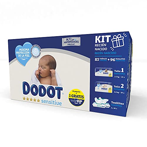 Dodot Sensitive Kit Recién Nacido: 44 pañales Talla 1 (2-5 Kg) + 39 pañales Talla 2 (4-8 Kg) + 96 toallitas Aqua Pure