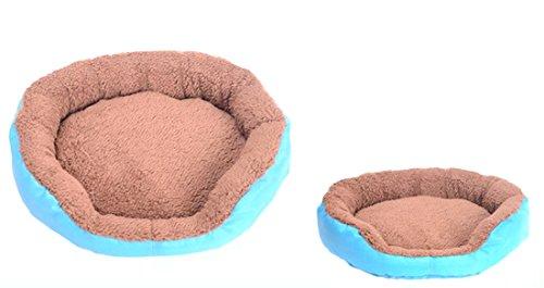 Gullor Chaud et Douillet Doux Bonbons Couleurs imperméable Tissu Oxford Velveteen Circulaire Maison de Chien - Bleu