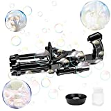 Gatling Bubble Gun,Automatic Bubble Machine,2021 New Cool Toys Gift for Kids, Bubble Maker Machine, Electric Bubble Gun,Bubble Machine Toy for Kids & Toddlers (Black-1PCS)