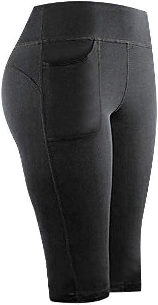 Women Yoga Short Pants Hip Lift Fitness Running Gym Sports Pant Solid Pockets Active Leggings