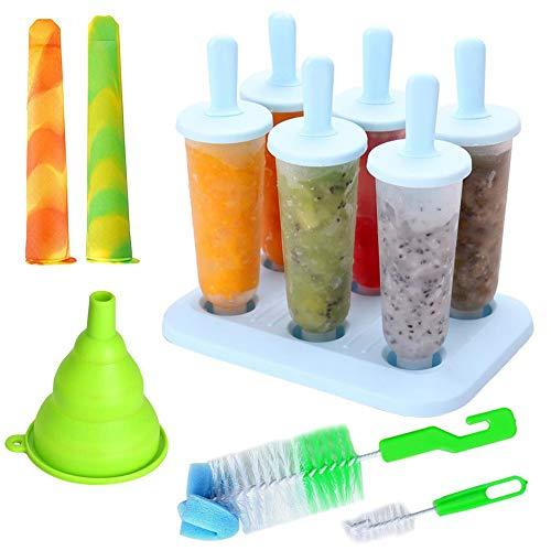 Queta Eisformen, 6 Stück EIS am Stiel und 2 Stück Eislutscher Popsicle Formen Set mit Reinigungsbürste und Falttrichter EIS Form Set für Kinder und Erwachsene
