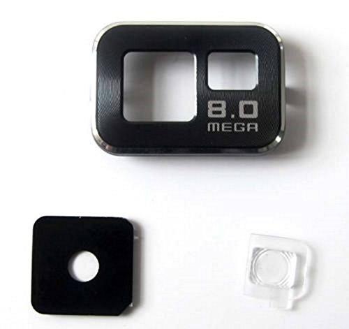 Ricambio lente vetro COVER ' NERO ' Camera Fotocamera Posteriore Esterna + VETRINO FLASH per SAMSUNG GALAXY S2 i9100 ; S2 PLUS i9205 NERO