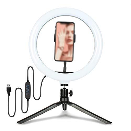 YINGZI Luz de Anillo de 10' Selfie con Soporte de Teléfono Celular y Soporte Trípode, Luz de Círculo de Escritorio Regulable LED para Maquillaje Fotografía (tamaño : 6'/16CM Light+Desktop Tripod)