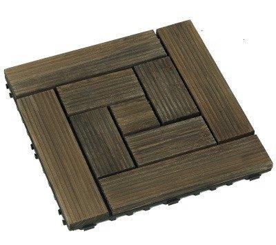 Mitef Dalles de Terrasse en Bois pour Jardin, Balcon, Salle de Bain, Multi-Pattern Et Multi-Couleur, Lot de 6, Rayure Filetée Noir