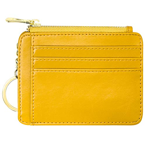 Padike Womens Slim Credit Card Holder Mini Front Pocket Wallet Coin Purse Keychain (Yellow)