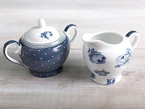 Katie Alice Stilvolles Vintage Indigo-Set mit Zucker- und Milchkännchen aus weißem Porzellan,2 Stück,