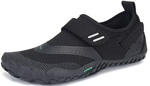 SAGUARO Hombre Mujer Minimalistas Zapatillas de Trail Running Ligeras y Respirable Zapatos Descalzos Gym Playa Calzado de Deportes Acuaticos para Asfalto Correr Senderismo, Negro 42 EU