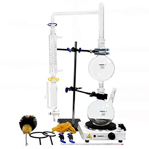 Equipo de destilación de aceite esencial de laboratorio de 1000 ml con condensador Graham para estufa caliente