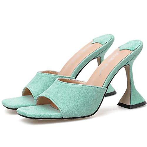 MKXF Cuadrados cabeza zapatillas de tacón alto de las mujeres sandalias,Azul,35