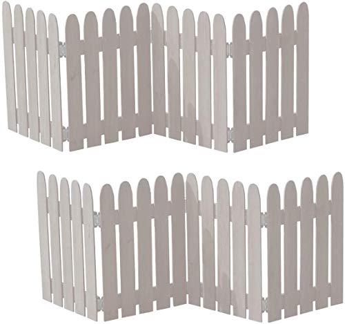 ミニ フェンス 庭 仕切り ドッグラン 置くだけ 目隠し 折りたたみ 木製 2枚組 ホワイト