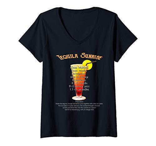 Donna Ricetta del cocktail Tequila Sunrise con ricetta Maglietta con Collo a V