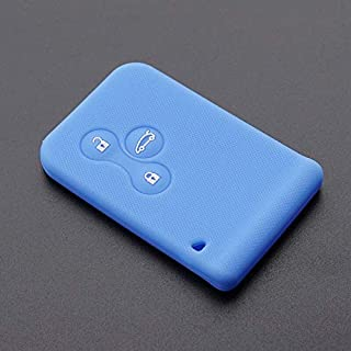 Fricgore - Car Key Cover Protector_Silicone rubber car key shell case cover sleeve set for Renault Clio Megane R.S. Grand Scenic 3 button card remote holder repair - (Color Name:Light blue)