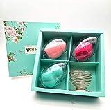 Esponjas de maquillaje Blender Beauty Foundation Esponjas de mezcla Huevo con soporte, soplos Aplicadores perfectos para líquido, crema, corrector y polvo, con caja de regalo