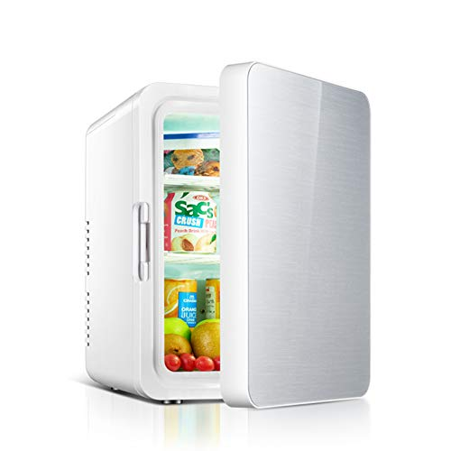 MNCYGJ Mini Nevera con Congelador De 10L, Pequeña Nevera para Acampar, 12V / 220V, Mini Nevera, Minibar Silencioso, Nevera para Cosméticos,Plata