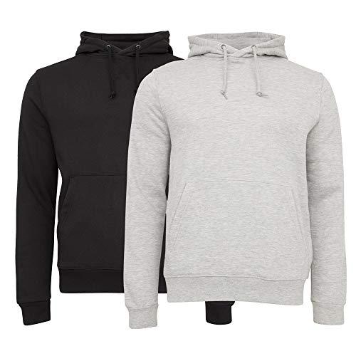Unipro Men's Basic 2 Pack Fleece Hoodie Sweatshirt with Kangaroo Front Pocket Bundle (X-Large, Black/Grey Pack)