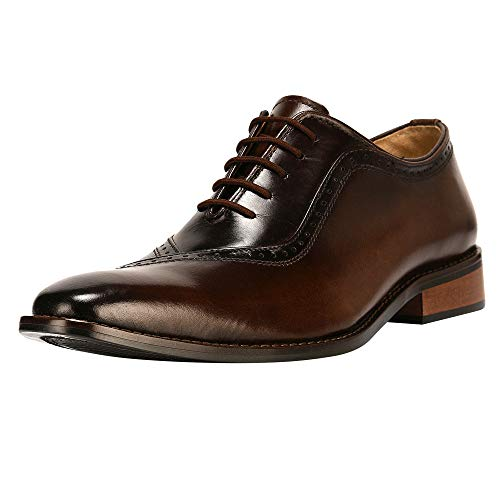 LIBERTYZENO Oxford Dress Shoes for Men Genuine Leather Burnished Toe Lace up Formal Business Shoes Brown