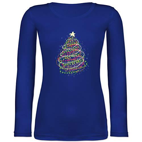Weihnachten & Silvester - Abstrakter Weihnachtsbaum - L - Blau - Damen weihnachtsshirt Langarm - BCTW071 - Langarmshirt Damen