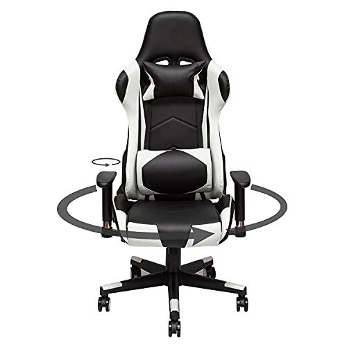 Gtracing Chair Gaming, Rolling Gaming Stühle mit Kopfstütze und Lendenkissen - PU-Leder verstellbare drehbare Schreibtischstühle Komfortable PC Racing Executive Ergonomische Rücken- und Nackenstütze