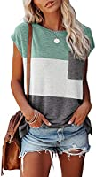 MIROL Women's Short Sleeve Tunic Tops Basic Loose T Shirts Solid Color Batwing Sleeve Casual Tee with Pocket