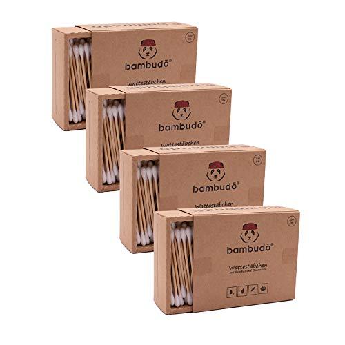 bambudo® 4er-Pack Bambus Wattestäbchen 100% biologisch abbaubar, kompostierbar, vegan und nachhaltig (800 Stück)