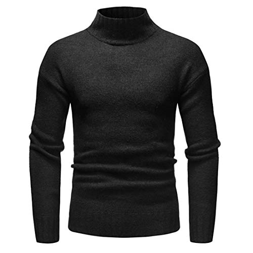 NQY Men Jumper Men Knitted Sweater Comfortable Casual High Collar Long Sleeve Slim Fine Knitting All-Match Men Tops Autumn and Winter Warm Fashion Business Casual Men Tops A-Black. 3XL
