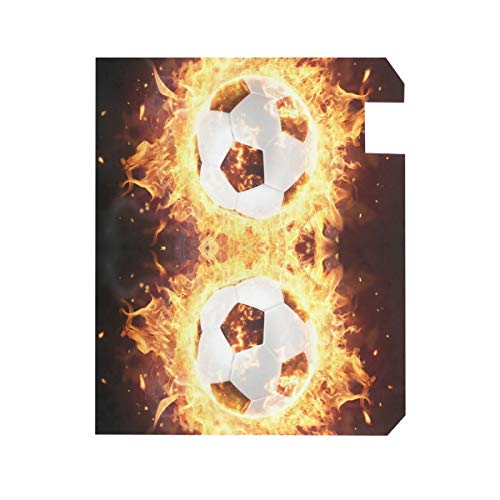 ZZKKO Football Fire Magnetic Mailbox Cover Wrap Post Letter Box Cover for Outside Garden Home Decor Large Size 25.5 x 20.8 Inch