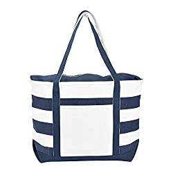 very lightweight foldable blue and white canvas tote bag