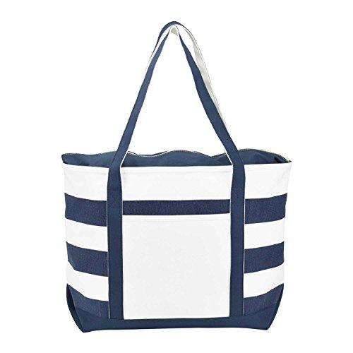 DALIX Striped Boat Bag Premium Cotton Canvas Tote in Navy Blue