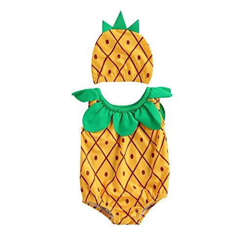 Chollius 2 Pezzi Costume da Bagno Bambini Neonate Senza Maniche Stampa Anguria Girocollo Costume Intero + Cuffia da Bagno (Giallo, L)