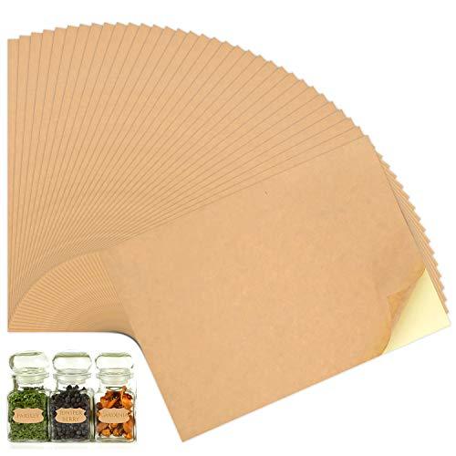 50 Feuilles d'imprimante Papier Kraft A4 Autocollant Étiquettes pour imprimante à jet d'encre et laser