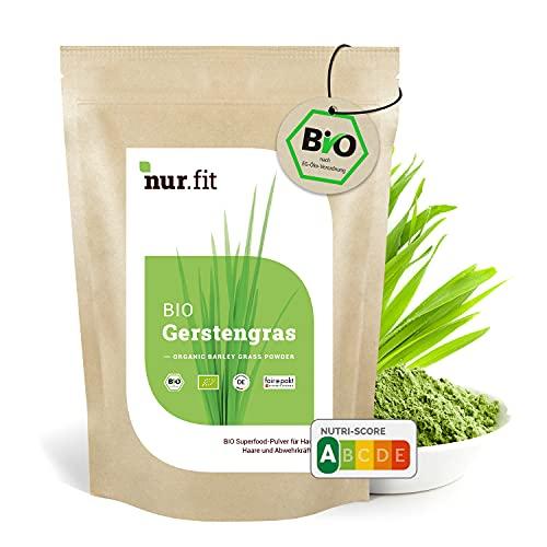 nur.fit by Nurafit BIO poudre d'herbe d'orge 250g - poudre naturelle pure d'herbe d'orge sans additifs provenant de culture allemande - poudre verte certifiée biologique avec vitamines et minéraux