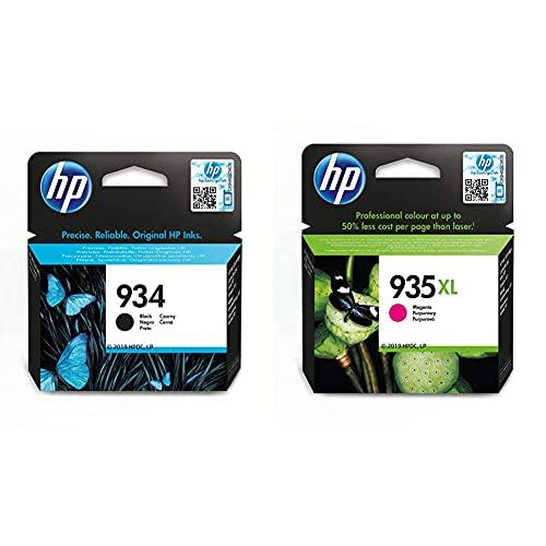 HP 934 C2P19AE, Negro, Cartucho Original de Tinta + 935XL C2P25AE, Magenta, Cartucho de Tinta de Alta Capacidad Original
