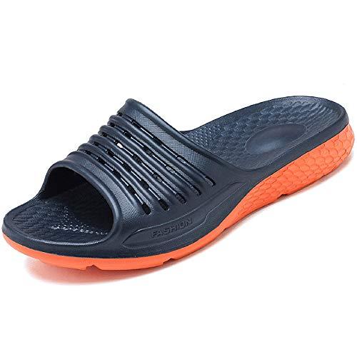 WODEBUY Men's Shower Sandals Antislip Quick Dry Bath Slippers Flats Gym and Pool Slides College Dorm Shoes