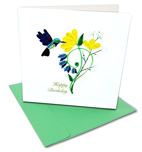 'Happy Birthday' Hummingbird Quilling Greeting Card, 6x6' with Envelope. Blank Inside. Hand-Made. Suitable for Framing.