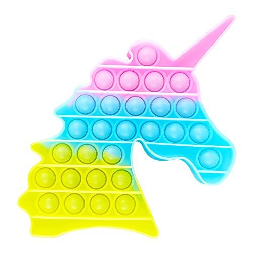 AURSTORE, Giocattolo Antistress Fidget Toy, Push It Pop Bubble, Giocattolo sensoriale da spremere, in Silicone per la concentrazione e la Calma (Unicorno Light)