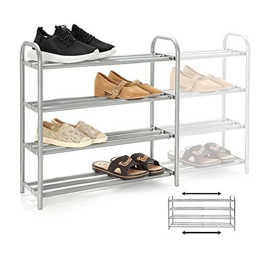 GUANJUNE Organizador de zapatero extensible de 4 niveles,El estante de metal resistente se organiza con capacidad para 20 pares de zapatos,Rack de ahorro de espacio para armario