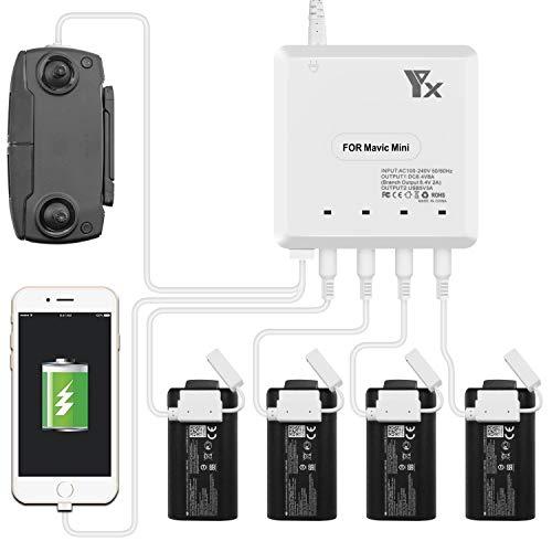 Tineer Mavic Mini Multi intelligente parallelo Charger Hub - Supporto 4 batterie ricarica rapida e delle porte USB Charger controller adattatore del caricatore per DJI Mavic Mini accessori