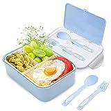 Fambrera Infantil, Lunch Box, Fiambrera con 3 Compartimientos, Cuchara Tenedor Lonchera, Bento Box Sostenible, para Microondas y Lavavajillas. (Azul)