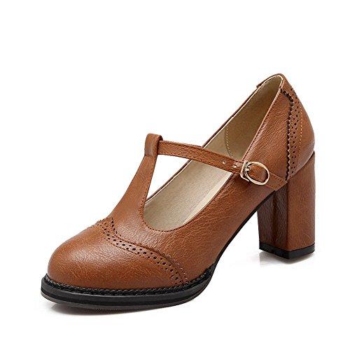 CosyFever Zapatos de Tacón Mary Jane Chunky Bajo conSólido Hebilla Hebilla Metal DC18 para Mujeres Marrón - 35 EU