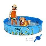 OMYLFQ Hundeschwimmbad, pecute Hundepool Faltbare Hund Tierbad Pool Hund Schwimmbad Tragbare PVC Haustier Badewanne Kinder Kugelgruben Kiddie Pool Für Hunde Haustiere und Kinder (Color : Blue)