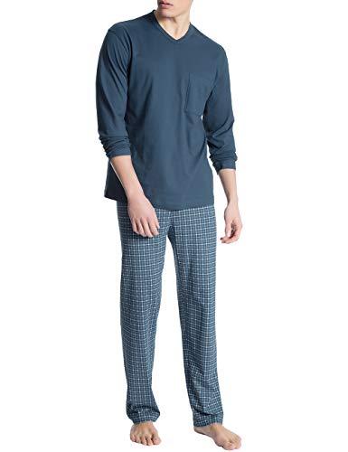 CALIDA Herren Relax Imprint 1 Zweiteiliger Schlafanzug, Blau (Blue Wing Teal 517), X-Large (Herstellergröße: XL)