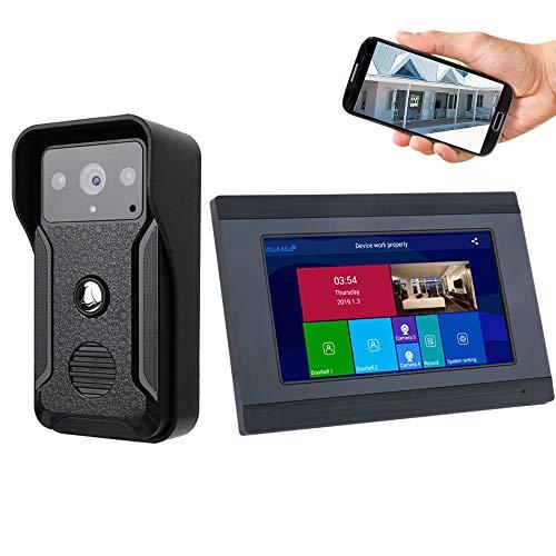 OWSOO 1080P 7 Pulgadas Videoportero WiFi Cableado con LCD, Soporta Desbloqueo Remoto, Control Remoto de App, Visión Nocturna, Intercomunicador Bidireccional, Tarjeta TF Máxima de 32G (no Incluida)