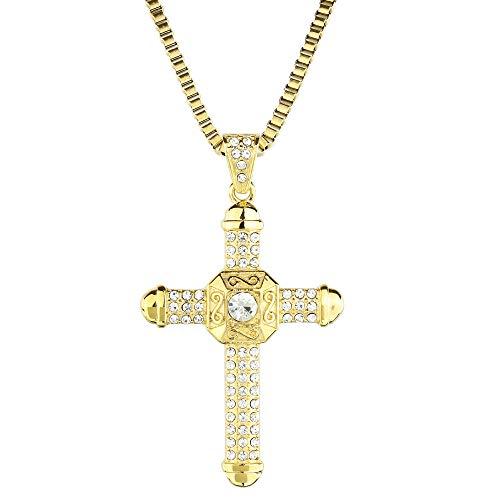 Herren Kreuz Kette Gold Edelstahl Halskette Anhänger Königskette Schmuck Dwayne Johnson The Rock