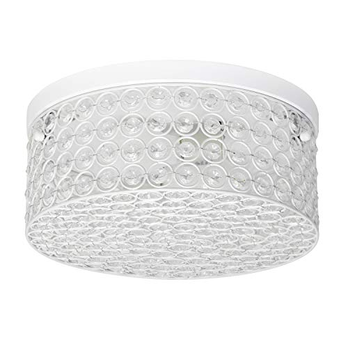 "12"" Round Elipse Flushmount White - Elegant Designs"