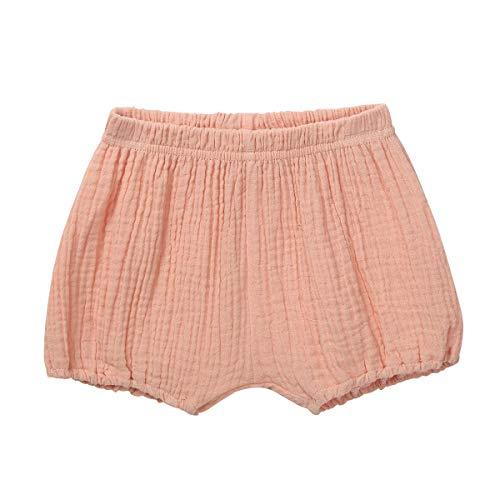 Agoky Unisex Baby Shorts Bio Baumwolle Süßigkeiten Farbe Kurz Hose Leinen Soft Bloomer Loose Harem Pumphose Windelhülle Unterwäsche Gr.68-92 OrangeRosa 74-80