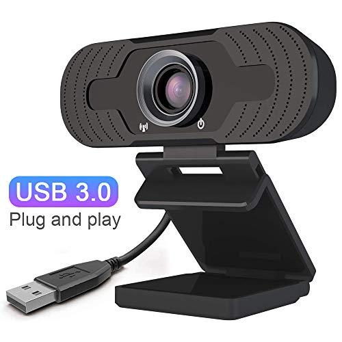Lankerx Full 1080p HD Webcam con micrófono USB Web Cam Plug & Play para transmisión en vivo, videoconferencias miniatura