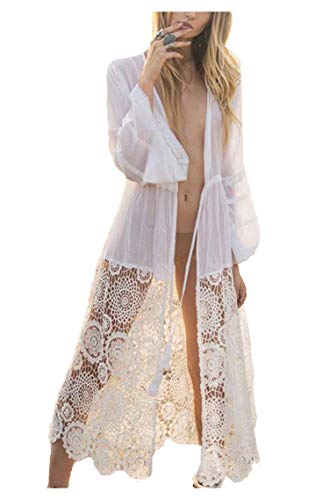 Wander Agio Womens Bikini Loose Cover Ups Beach Casual Dress Coverup Swimsuits Long Cardigan Hollow Out White 22