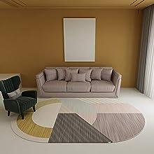 NF Alfombra grande, sencilla moderna para el hogar, ovalada irregular, alfombra para sala de estar, dormitorio, alfombra de área, lavable, antideslizante, alfombra pequeña de 140 cm x 200 cm
