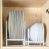 Homtone Kitchen Plate Dish Organizer Rack, Vertical Plate Holder Display Storage for Cabinet, Drawer, Counter and Cupboard, White, L & S